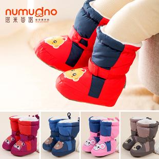 婴儿步前鞋0-6-12个月不掉男女宝宝棉鞋秋冬加绒保暖学步高帮加厚品牌