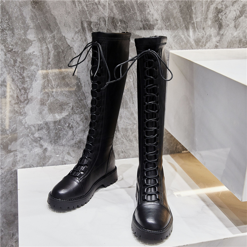Fashion boots womens knee high 2020 new flat bottom high tube autumn elastic thin show thin spring and autumn Knight winter shoes