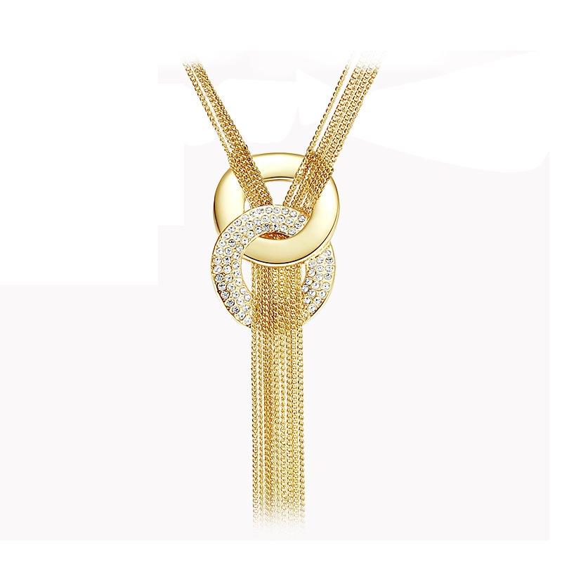 多层流苏毛衣链欧美时尚夸张个性长款项链圆圈镶钻高档时装配饰品