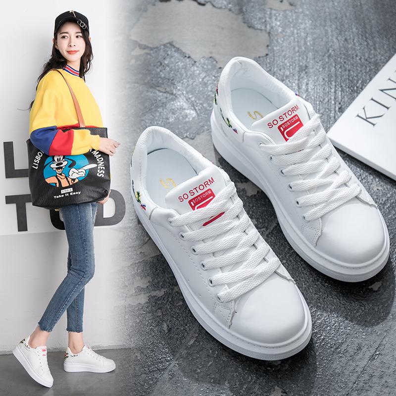 蝶恋朵花朵刺绣女款单鞋2018春季新品女鞋舒适平底运动鞋女小白鞋