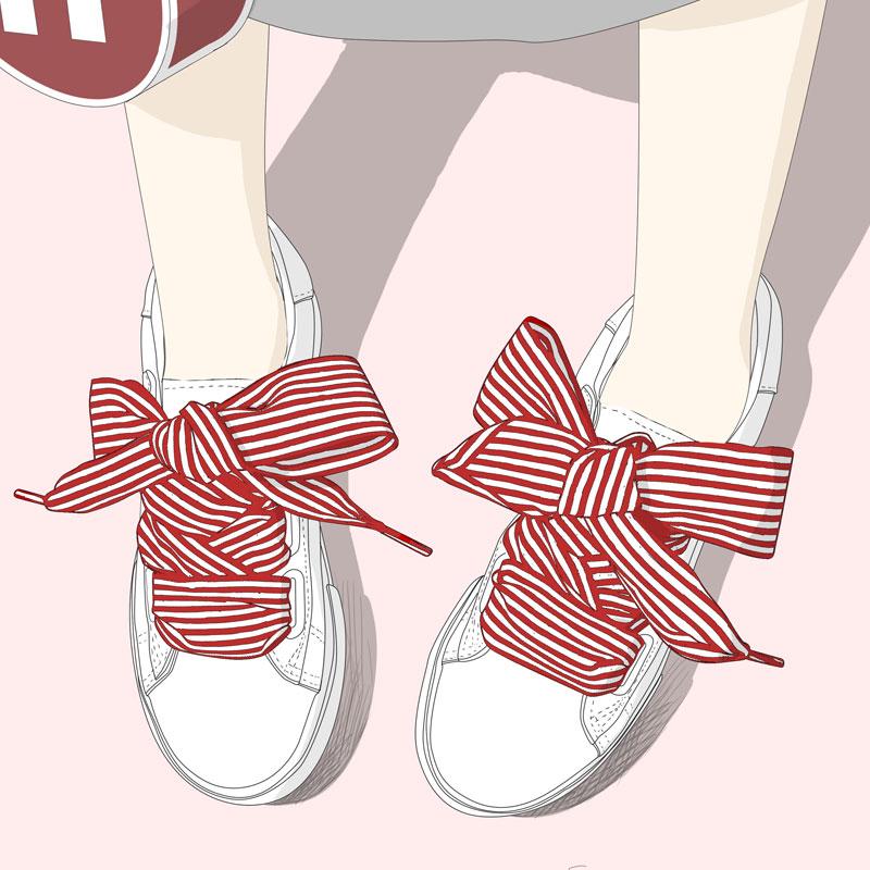 蝴蝶结小白鞋女夏季学生百搭细条纹缎带鞋子韩版潮流系带休闲板鞋
