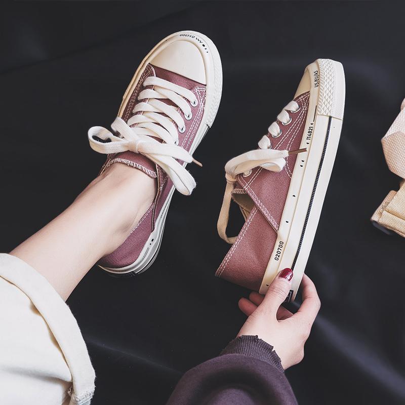鮀品豆沙色帆布鞋女鞋子学生韩版skr潮鞋2019新款网红ins超火布鞋限18888张券