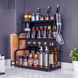 304不锈钢黑色厨房置物架用品收纳家用台面调味调料架子盒瓶大全