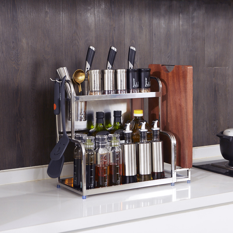 304不锈钢厨房置物架落地多层收纳油盐酱醋刀架用品调味调料架子