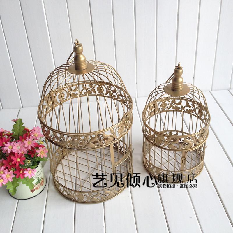 藝見傾心 歐式鐵藝裝飾金色鳥籠 婚慶複古 婚禮路引擺件 影樓櫥窗