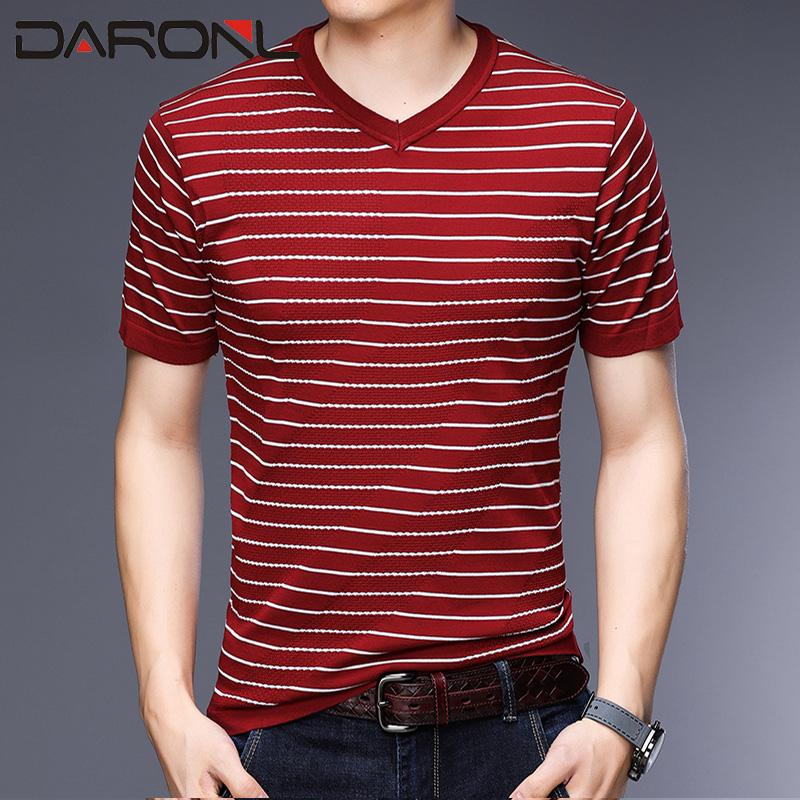 中青年V领针织体恤衫夏季 薄款短袖T恤修身上衣ERDOS花花公子同款