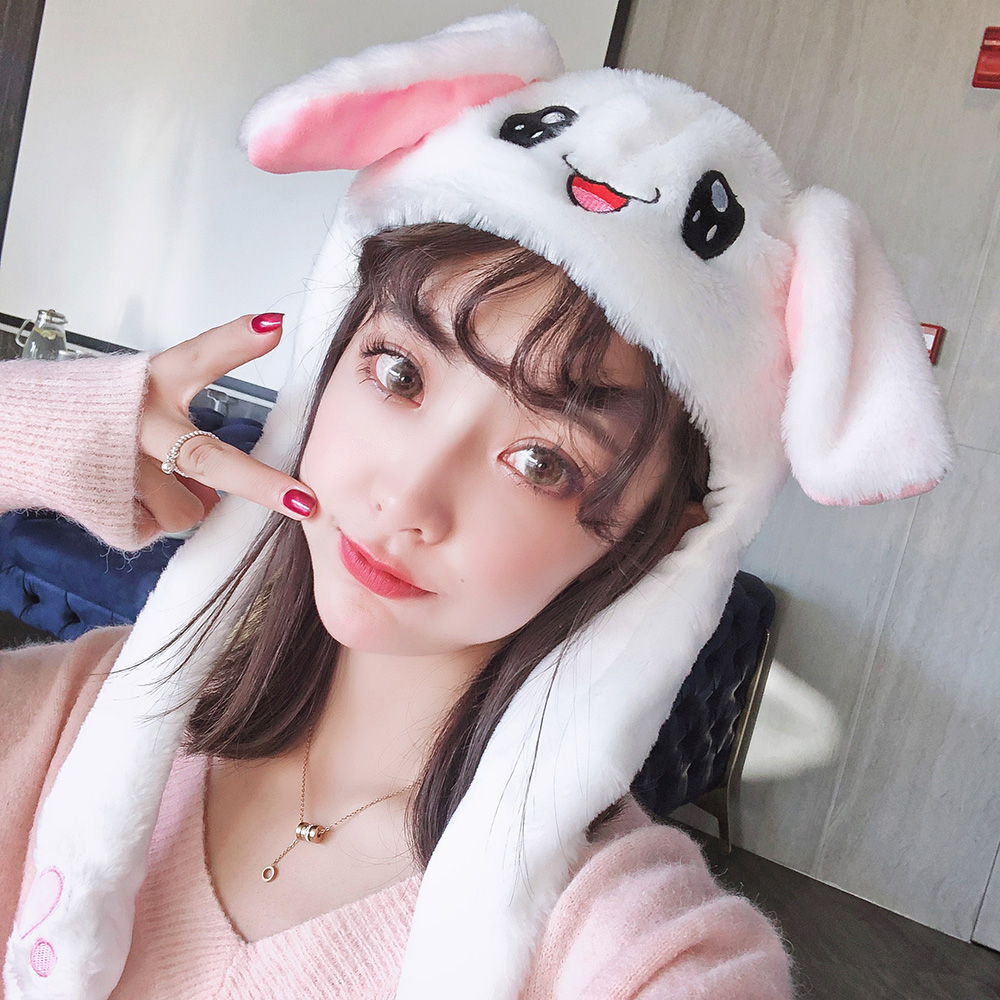 Adorable rabbit ears tiktok red glow, adorable airbags, ears can move ears, Rabbit Hat, shake voice same.