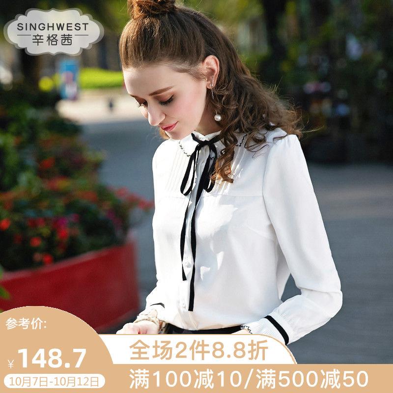 蝴蝶结雪纺白色衬衫女长袖2019秋冬新款上衣洋气加绒加厚系带衬衣