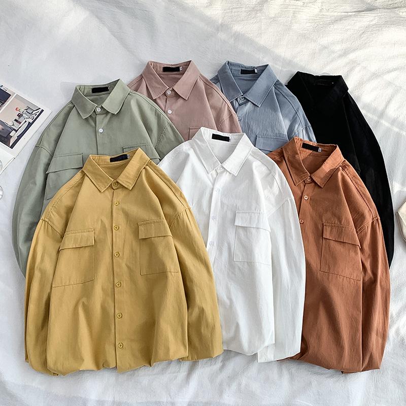 满40元可用3元优惠券长袖春秋新款纯色工装韩版潮流衬衫