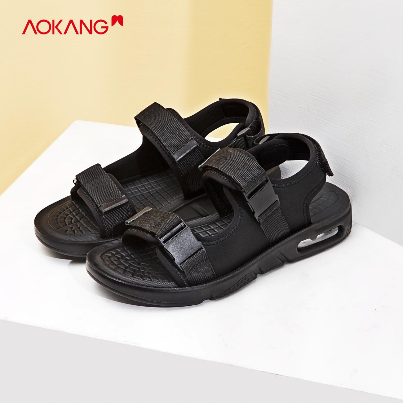 奥康男鞋2020夏季新款运动凉鞋轻便卡扣休闲鞋舒适软底户外沙滩鞋
