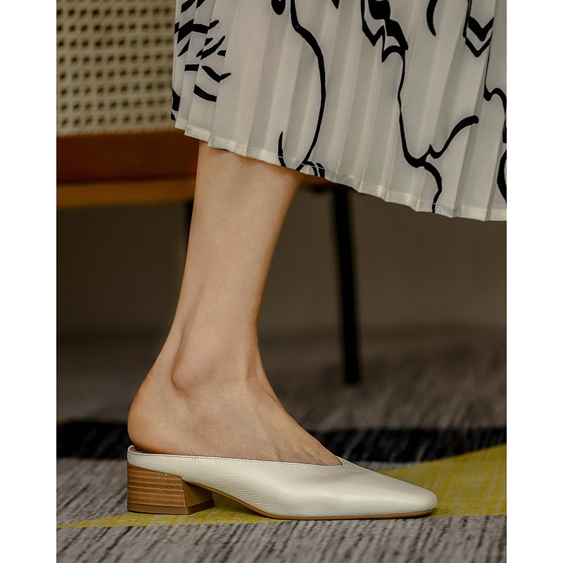 网红半包头真皮凉拖鞋女外穿中跟夏季2020新款粗跟全牛皮方头拖鞋