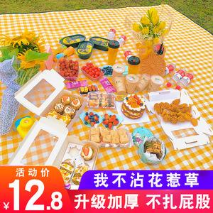 郊外野餐垫ins风春游垫子便携防水加厚田园日式野餐布户外防潮垫