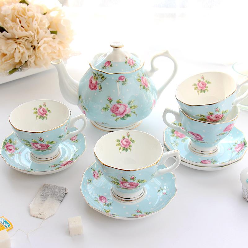 Континентальный кофе установите кофе крышка инструмент домой керамика черный чай чашка горшок костяной фарфор британская днем чай чайный сервиз