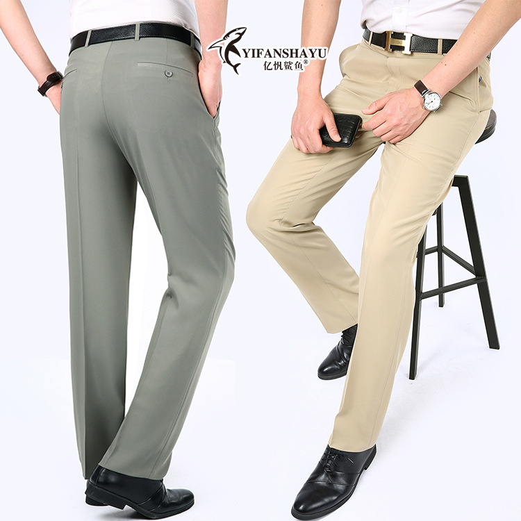 Thin summer mens trousers mulberry silk business casual mens trousers