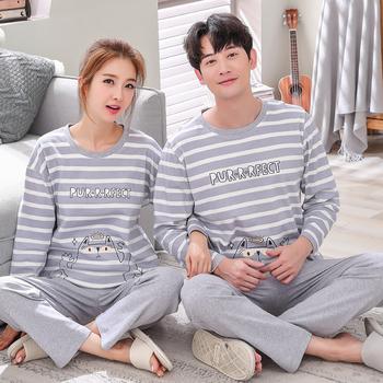 情侣纯棉长袖秋冬季韩版男款睡衣