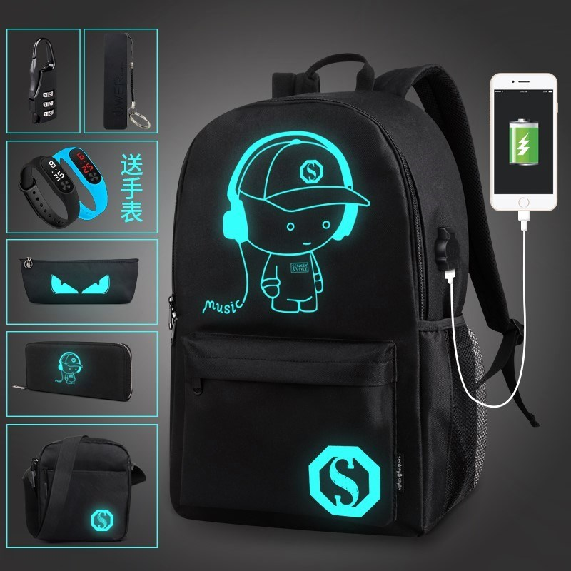 Animation game around the fifth personality schoolbag luminous men and women canvas schoolbag schoolbag
