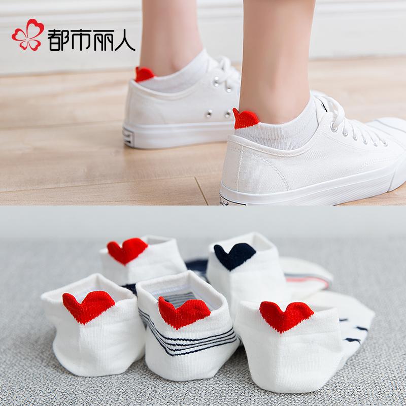 四季短筒卡通袜子女可爱船袜爱心立体短袜一体成型韩版韩系甜美