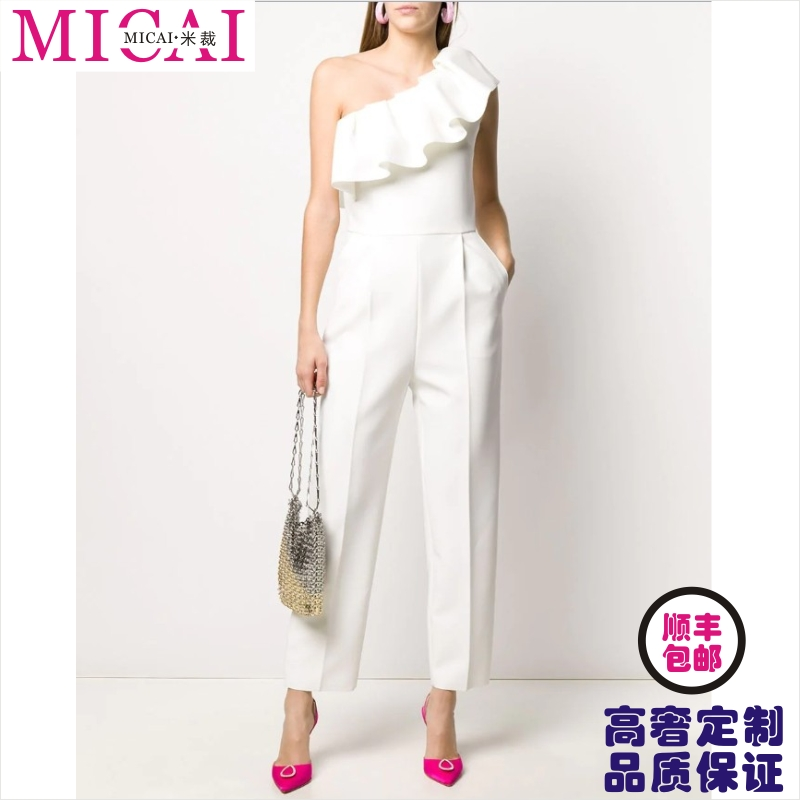 European and American high-end private customized womens small dress with ruffle edge and shoulder