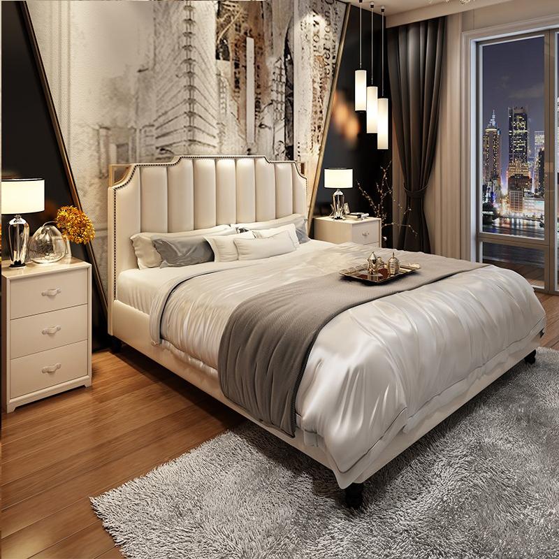 (用2480元券)床美式床实木床欧式床真皮床1.8米双人床后现代轻奢港式床主卧