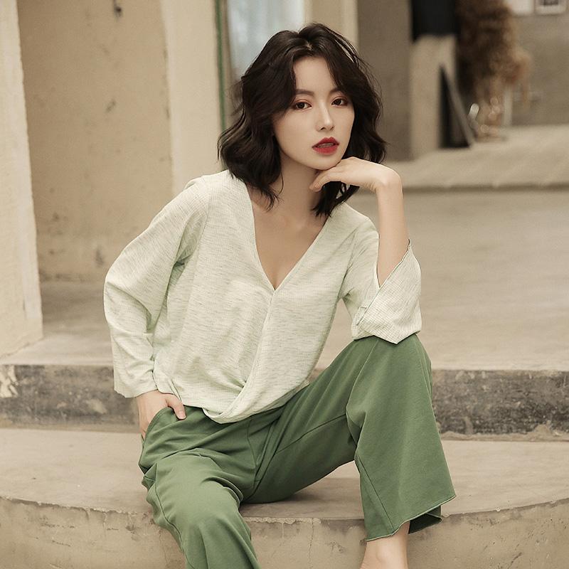 春秋两件套装韩版性感长袖纯棉睡衣11月20日最新优惠