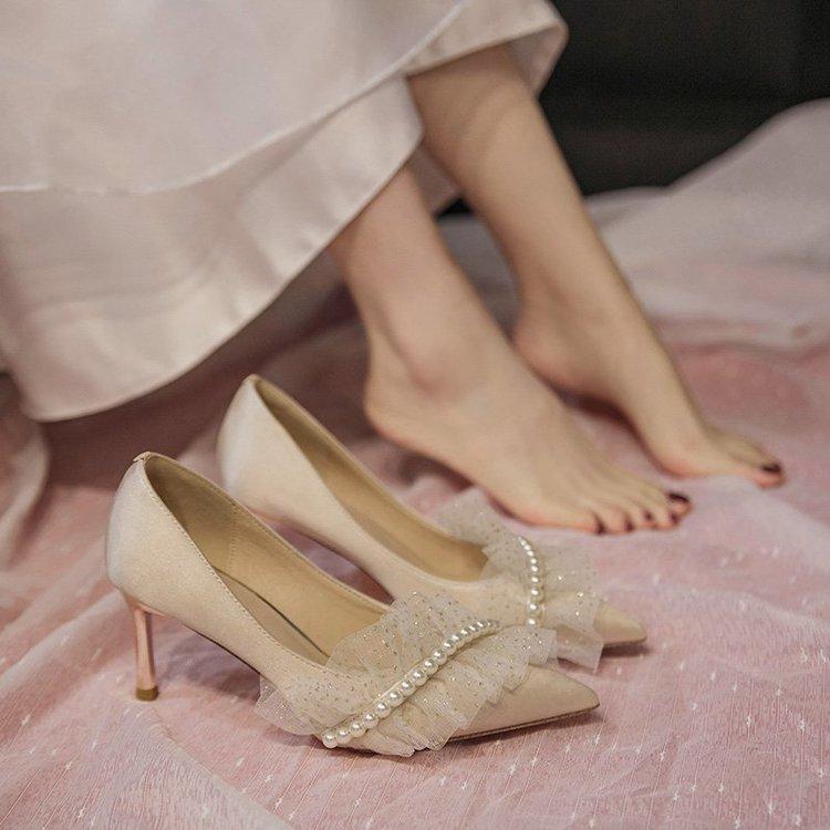 蕾丝高跟鞋女细跟小ck2021年新款春夏季韩版百搭小清新仙女尖头鞋