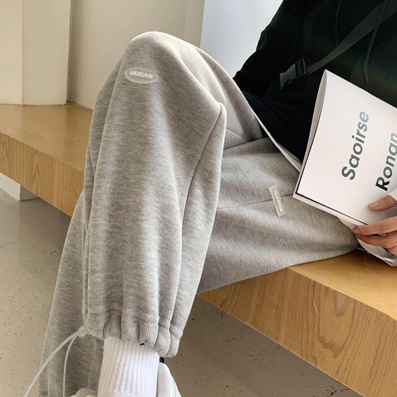 运动裤女宽松束脚春秋夏小个子直筒2021新款显瘦休闲灰色阔腿卫裤