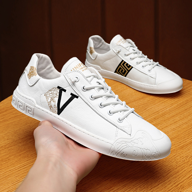 Trendy brand small white shoes mens low top summer new printing casual shoes mens high end non lace up breathable trend mens shoes XZ