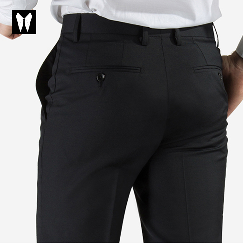 Summer mens trousers business thin no iron office black straight pants slim professional pants