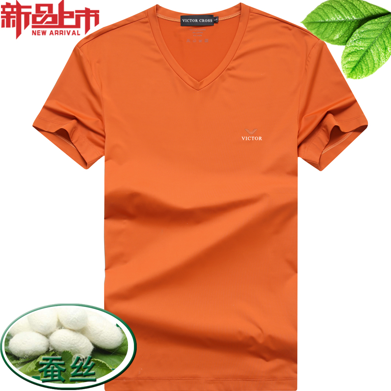 Mulberry silk mens V-neck short sleeve T-shirt summer slim thin mens T-shirt solid large half sleeve T-shirt