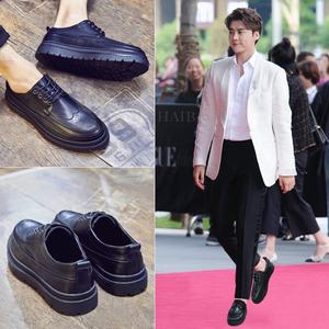 皮鞋男韩版布洛克男鞋英伦增高厚底青年正装休闲男士皮鞋夏季透气