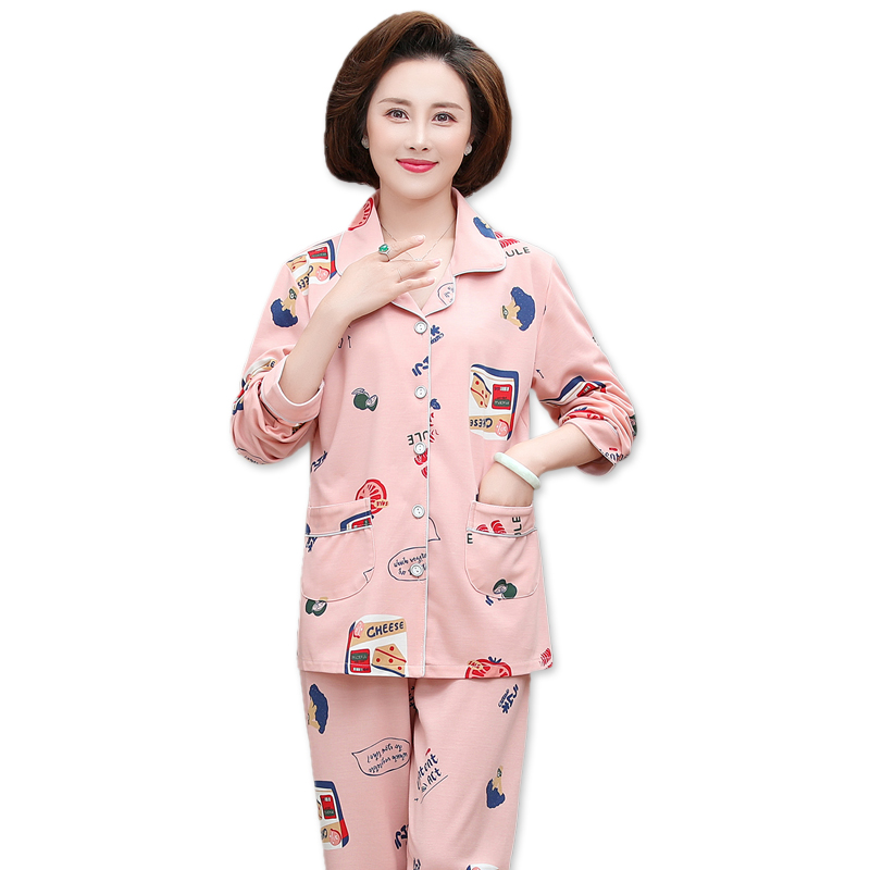 春秋季睡衣女秋长袖纯棉中老年老人奶奶中年妈妈秋冬季薄款家居服