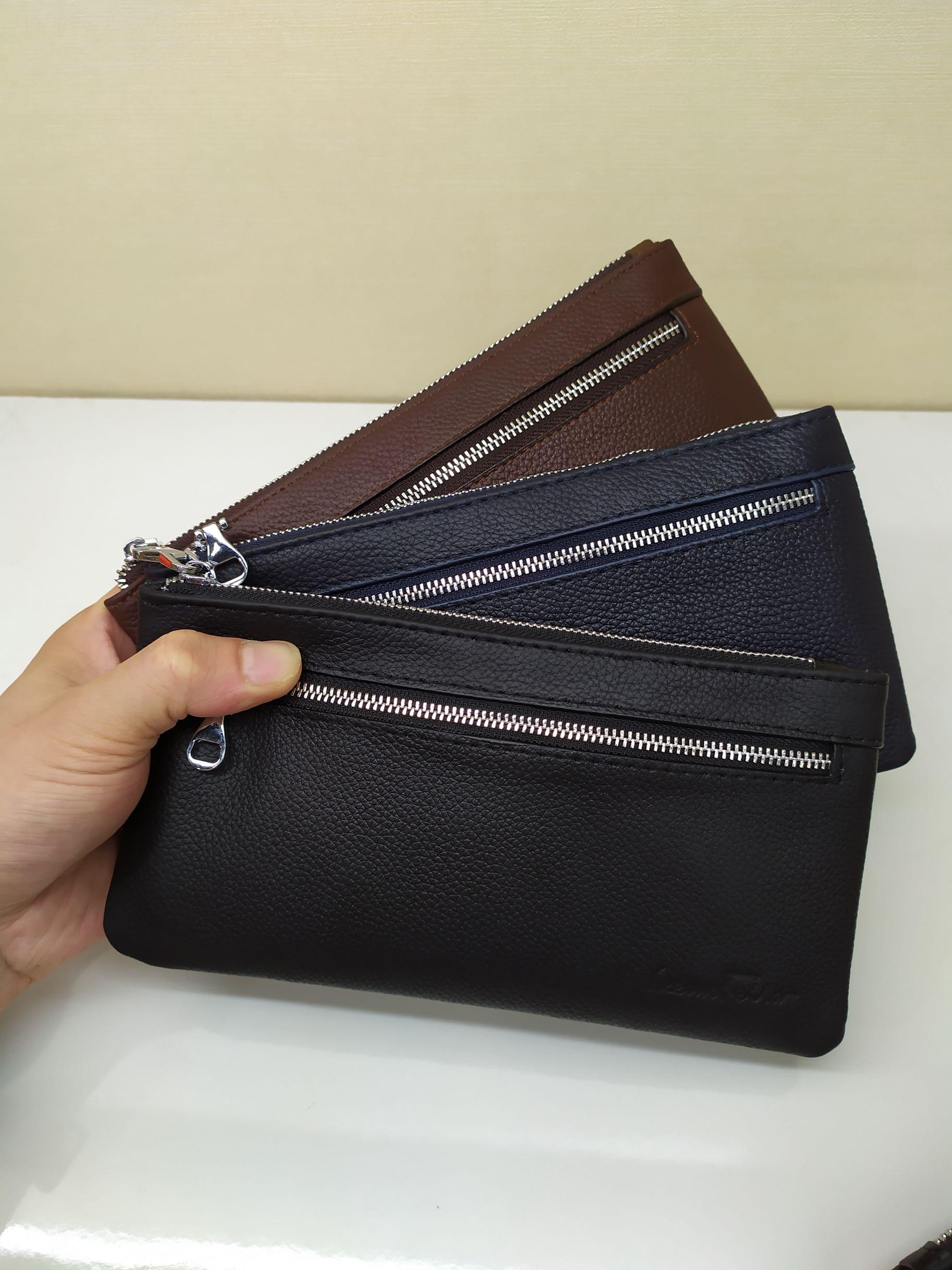 Feighham genuine handbag leather leisure business long zipper purse pure leather soft hand bag