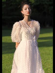 CAN2021夏季新款 立体提花设计感泡泡袖V领收腰公主连衣裙女长裙