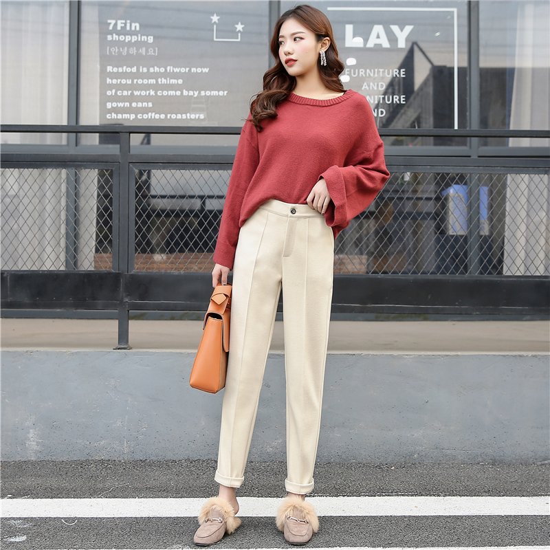 Autumn and winter woolen trousers large loose Korean tapered casual suit pants pipe pants Harem Pants womens small feet long pants