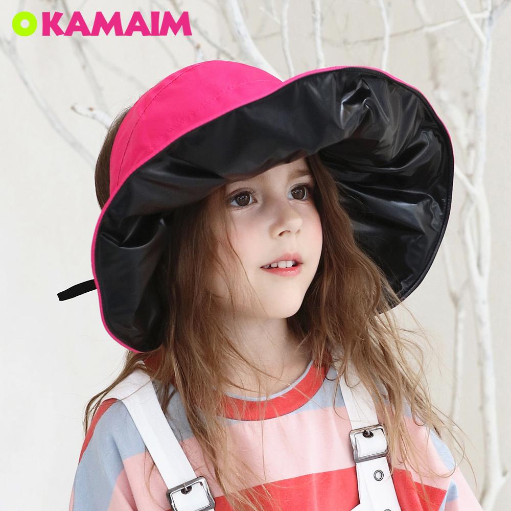 儿童遮阳帽防紫外线遮脸宝宝渔夫帽女童黑胶防晒帽夏季薄款太阳帽
