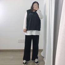 秋冬大码女装胖mm显瘦金丝绒240斤垂感阔腿直筒裤高腰百搭宽松