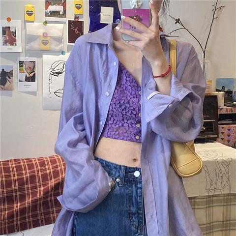 大码胖mm中长款宽松长袖衬衫上衣女春夏复古设计感防晒衬衣外套潮