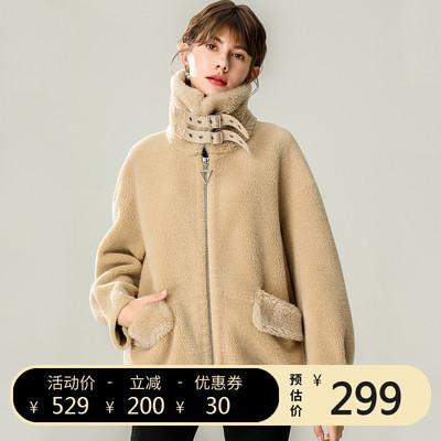 2019新款大颗粒羊剪绒大衣皮毛一体反季羊羔毛短款皮草羊绒外套女