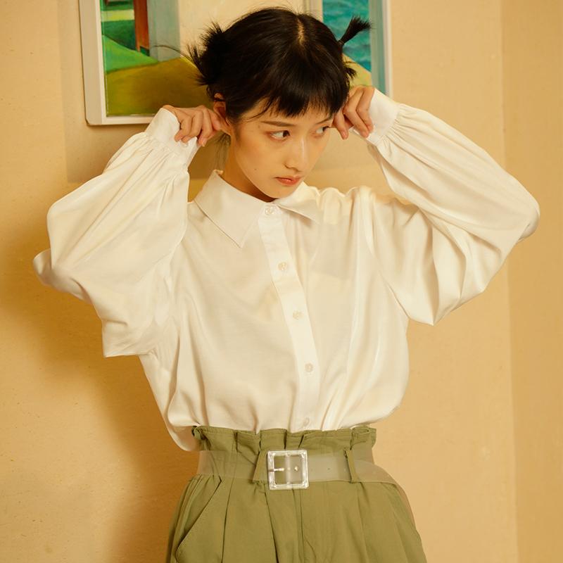 白色衬衫女长袖宽松韩版学生设计感小众灯笼袖衬衣初秋女上衣轻熟限50000张券