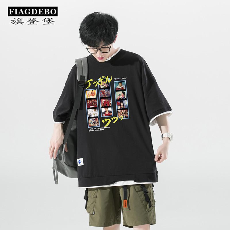 夏季日系动漫图案印花短袖T恤男ins潮牌懂吗宽松超火上衣半袖体恤