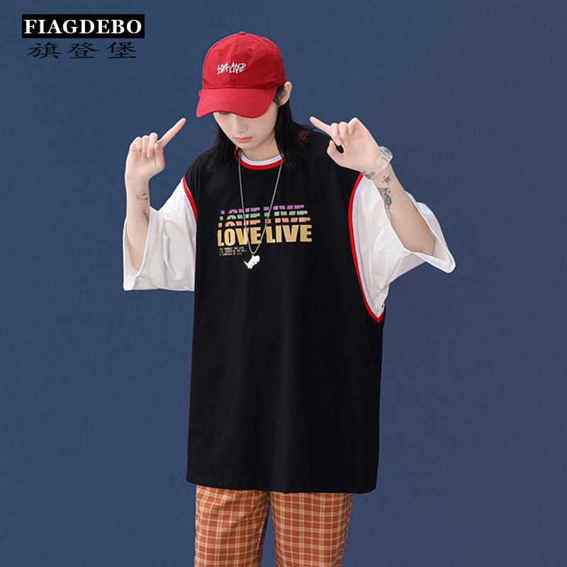 短袖t恤男潮流宽松纯棉圆领体恤港风潮牌中性款体恤衫落肩袖半袖