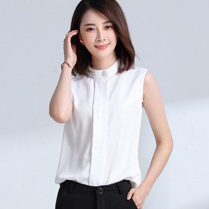亿麦莎雪纺衫女无袖衬衫夏季2017新款白色打底衫春装宽松短款上衣