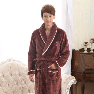 秋冬季法兰绒情侣睡袍男士女士浴袍珊瑚绒加厚长袖睡衣家居服浴衣