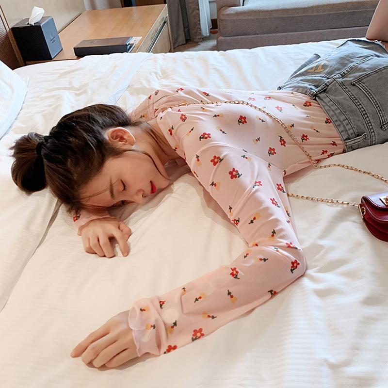 长袖T恤女韩版宽松2019新款夏季超火cec防晒衣罩衫薄款上衣雪纺衫