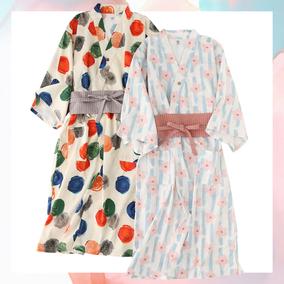 纯棉日式情侣波点复古睡裙夏睡袍