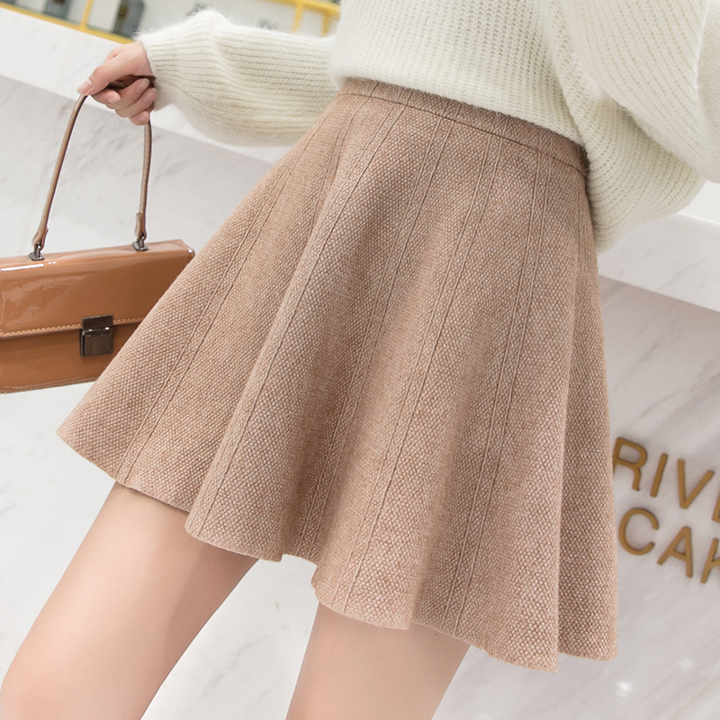 Autumn and winter 2020 new jacquard knitted half skirt wool skirt fluffy skirt bottom skirt sun skirt