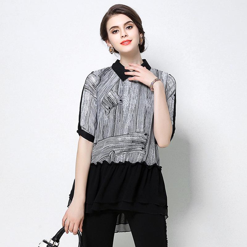 色姿大码女装2018春夏新品胖mm200斤雪纺拼接印花衬衫显瘦上衣潮