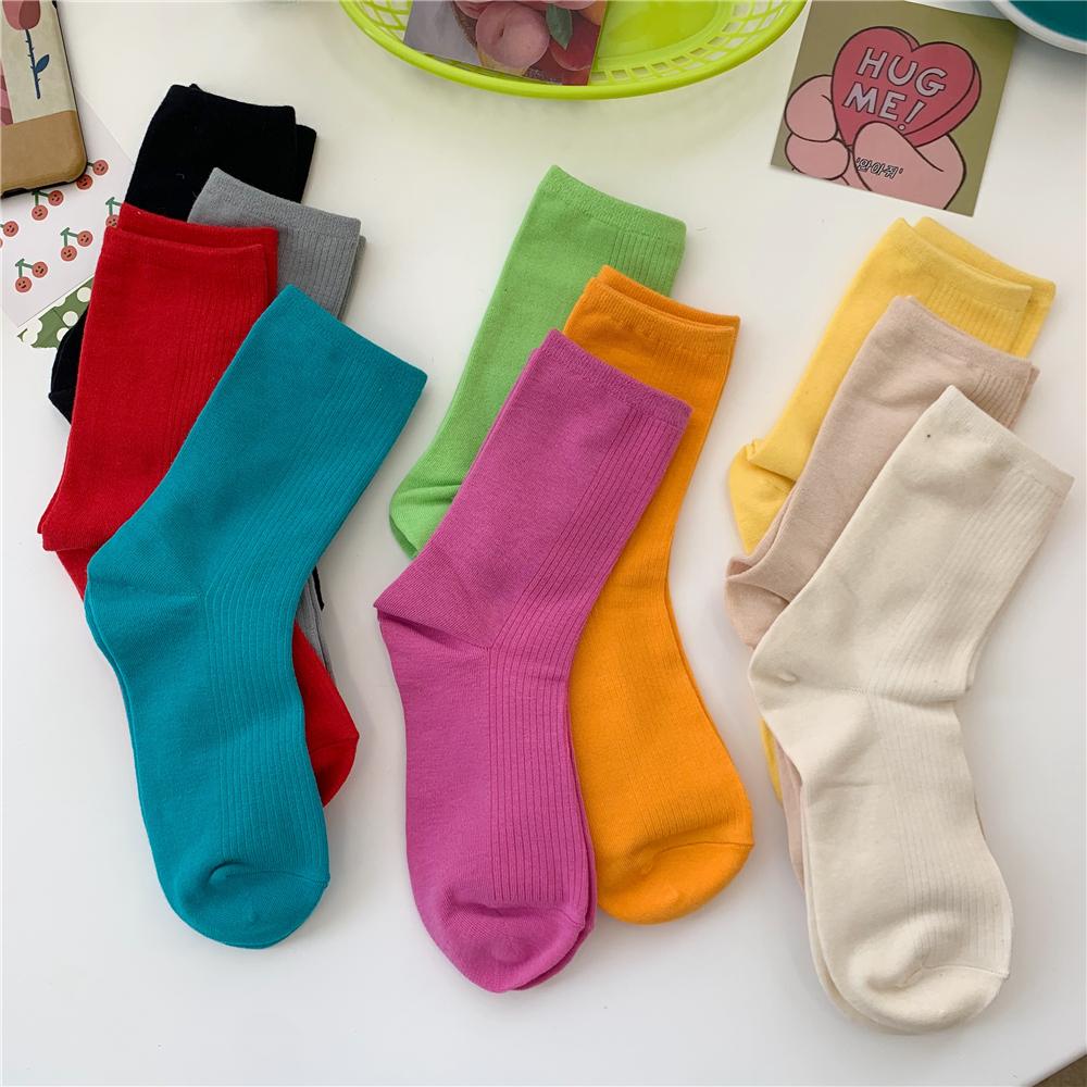 LET ME SEE少女糖果色纯色棉短袜子中筒袜女ins潮堆堆袜秋冬薄款