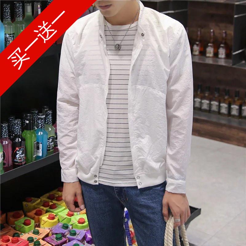 春夏季薄款外套男士防晒夹克学生休闲修身青年春装韩版运动外衣服