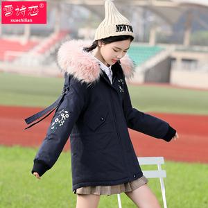 少女大毛领棉衣冬装加厚派克服韩版学院风设计感棉服初中生外套潮